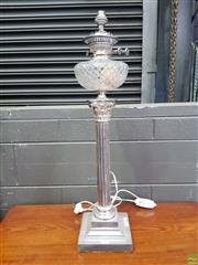 Sale 8617 - Lot 1017 - Late Victorian Silver Plated Continthian Column Kerosene Lamp, converted to electricity, with cut glass fond & Messengers No2 Duplex...