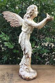 Sale 8706A - Lot 47 - A fairy statue cast iron white colour general wear, surface rust, H 50 x W 35cm