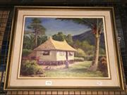 Sale 8776 - Lot 2096 - Artist Unknown - Tropical Scene, oil on board, SLR