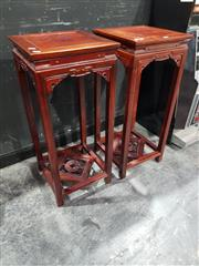 Sale 8826 - Lot 1004 - Pair of Rosewood Jardiniere Stands (H: 78 W: 34.5cm2)