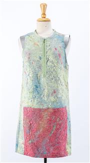 Sale 8891F - Lot 30 - An LP33.3 silk-blend zip shift dress woven in an array of metallic textures, size 8