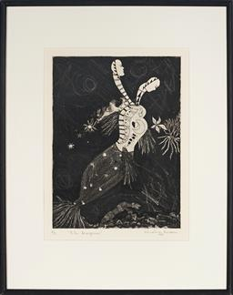 Sale 9091 - Lot 2032 - Christina Cordero (1938 - . ) The Dragoness, 1988 hand-coloured etching/ aquatint, ed. 4/7, frame: 51 x 41cm, signed and dated -