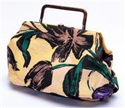 Sale 9083F - Lot 41 - A VINTAGE MARNI FABRIC HANDBAG; floral pattern with leather trim, hard frame and handle, size 38 x 25 x 8cm.