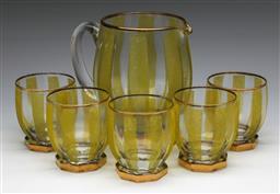Sale 9173 - Lot 5 - A retro salt glazed drinks suite inc jug and five tumblers
