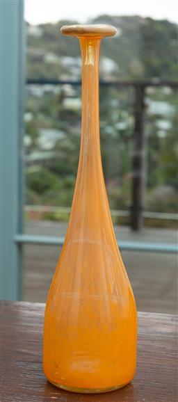 Sale 9191H - Lot 49 - An orange Art glass fluted vase, H 24 cm