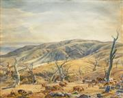 Sale 8665 - Lot 555 - Hans Heysen (1877 - 1968) - Untitled, 1944 (Pastoral Scene) 40.5 x 32cm