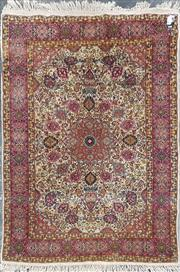 Sale 8760 - Lot 1089 - Oriental Kashmiri Carpet in Pink Tones with Central 16 Point Medallion (188 x 123cm)