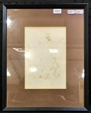 Sale 8949 - Lot 2005 - Wolfgang Grasse Woman & the Grim Reaper ink and paper, 24.5 x 28.5cm (frame), signed -