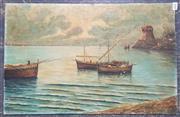 Sale 9004 - Lot 2040 - E. Mastrogiacomo Fishermen Returning to Shore oil on board, 36 x 55cm (unframed), signed