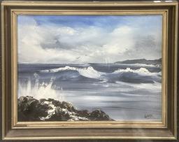 Sale 9103 - Lot 2095 - Artist Unknown - Waves, oil, SLR