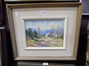 Sale 8437 - Lot 2020 - Mollie Flaxman (1912 - 2004) - Farm Cottage - Windsor 14 x 19cm