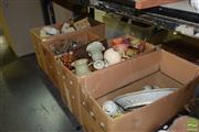 Sale 8509 - Lot 2208 - 4 Boxes of Sundries incl. Crystal & Glasswares, Ceramics, Coral, Treen, etc