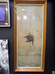Sale 8561 - Lot 2019 - Neville Cayley, Ducks in Flight, watercolour, A/F, 58.5 x 23cm, signed lower right