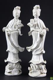 Sale 8586 - Lot 19 - Dehue Porcelain Guanyin Figures