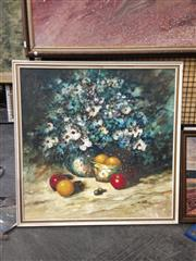 Sale 8767 - Lot 2063 - Artist Unknown - Still Life with Fruit & Flowers, SLR