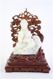Sale 8827D - Lot 55 - Nephrite Carved Figure of Guanyin (H19cm) on Carved Rosewood Wave Plinth with Cloud Aura (H 33cm)