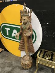 Sale 8893 - Lot 1004 - Burmese Polychrome Standing Buddha Jambupati