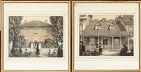 Sale 8963H - Lot 21 - Two book plates from Hardy Wilson Old Colonial Architecture in New South Wales and Tasmania, framed, image size 24cm x 32cm, frame...