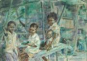 Sale 8990 - Lot 2011 - Jeannette York (1935 - 2018) - Wayside Stall & Children, Indonesia, 1981 24 x 34 cm (frame: 41 x 51 x 4 cm)