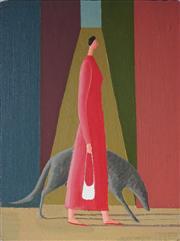 Sale 9001 - Lot 527 - Prudence Flint (1962 - ) - Study III, a Woman Walking a Dog in Front of a Lane, 2007 29 x 21.5 cm