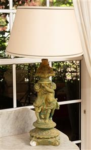 Sale 9071H - Lot 5 - A green painted plaster figural lamp, Height 80cm