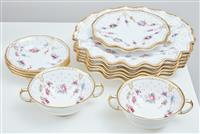 Sale 9090H - Lot 41 - A Royal Crown Derby floral part dessert set comprising six shaped plates, diameter 26.5cm, two coupes and saucers and four side bowl...