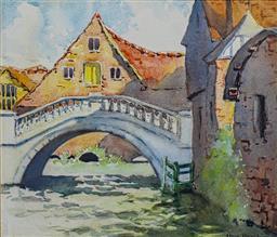 Sale 9191A - Lot 5012 - ELMA ROACH (1897 - 1942) The Bridge watercolour 26 x 30 cm (frame: 45 x 48 x 3 cm) signed