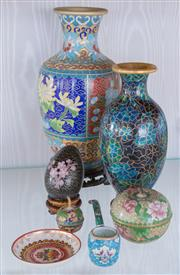 Sale 8369A - Lot 16 - A group of cloisonne wares including two vases, two lidded pots, pipe, egg and a pin dish