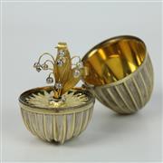 Sale 8412A - Lot 50 - Silver Egg Set with Precious Gems height - 8cm