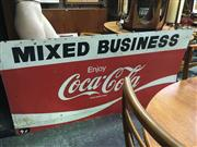 Sale 8643 - Lot 1035 - Vintage Tin Mixed Business Coca-Cola Sign