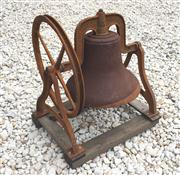 Sale 8706A - Lot 49 - A large cast iron bell on timber mount, general wear, surface rust, H 82 x W 69cm