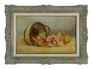 Sale 8770A - Lot 49 - Antique French school - Still Life of Apples 40 x 62cm canvas on board signed