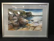 Sale 8949 - Lot 2017 - Margaret Fortey Beach Scene ink and watercolour on silk , 49 x 66cm (frame), signed -
