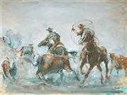 Sale 9047A - Lot 5040 - Roger Murphy (1936 - ) - Rounding up Cattle 44 x 59 cm (frame: 62 x 78 x 3 cm)