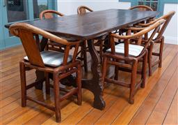Sale 9191H - Lot 52 - Timber Farmhouse dining table on iron stretcher base, H 77x W 92 x L 240 cm