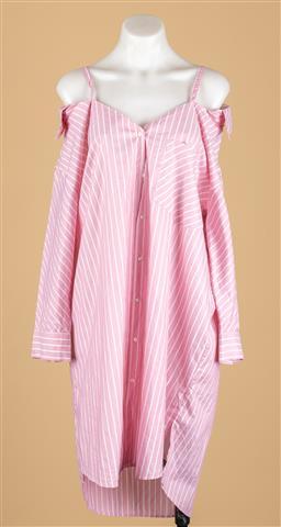 Sale 9250F - Lot 41 - A Maje oversize pink and white striped shirt dress, size 2.
