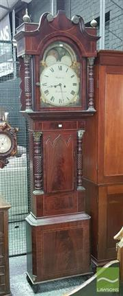 Sale 8539 - Lot 1020 - Regency Mahogany Longcase Clock, with broken arch pediment, the white dial signed Warwick, Birmingham, with two train movement, moon...