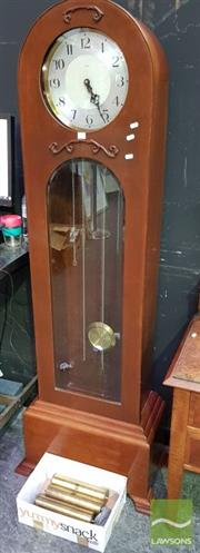 Sale 8545 - Lot 1015 - Art Deco Enfield Grandfather Clock with Weights & Pendulum