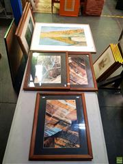 Sale 8627 - Lot 2037 - Group of (5) Artworks of Central Australia: watercolour by Jim Bray; (4) photographic prints by Unknown Artist (framed/various sizes)
