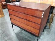 Sale 8724 - Lot 1061 - Teak 4 Drawer Chest on Metal Base