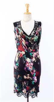 Sale 8891F - Lot 51 - A JustCavalli floral printed jersey sleeveless dress with lace underlay, size small