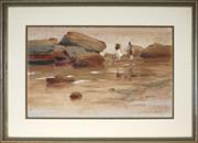 Sale 8949 - Lot 2045 - Allan Waite (1925 - 2010) - Walk Along the Foreshore 31 x 51 cm ( frame: 50 x 70 x 3 cm)