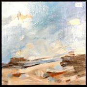 Sale 8949 - Lot 2013 - Jean Scott Beach Scene oil on canvas, 31 x 31cm, signed -