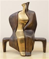 Sale 8963H - Lot 4 - Theodore Papagiannis (Greek 1942-), Couple on a park bench, a two tone bronze in three pieces, signed to base of main figure, Heig...