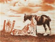 Sale 9038 - Lot 573 - Cedric Emanuel (1906 - 1995) - Clydesdale Horse & Foals at the Great Segenhoe Stud, Scone 30 x 40 cm (frame: 48 x 58 x 2 cm)