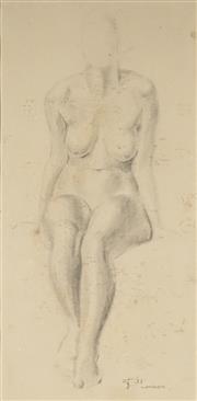 Sale 9047A - Lot 5081 - Dorothy Thornhill (1910 - 1987) - Nude Study, London 1933 32.5 x 16 cm (54 x 34 x 3 cm)