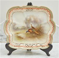 Sale 9090H - Lot 54 - A hand painted Royal Worcester pheasant dish with reticulated border 21cm x 26cm