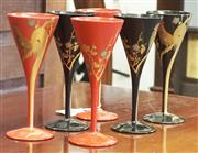 Sale 8319 - Lot 208 - 6 x Japanese Art Deco lacquer drinking glasses featuring cockerels with trailing tails