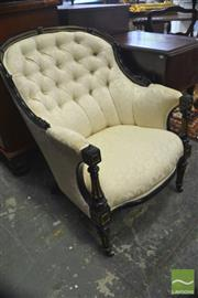 Sale 8335 - Lot 1096 - Napoleon III Ebonised & Gilt Armchair, with button cream upholstery & turned fluted supports