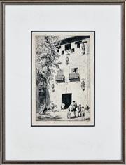 Sale 8382 - Lot 583 - Lionel Lindsay (1874 - 1961) - Untitled (Outside a Spanish Tavern) 27 x 17.5cm